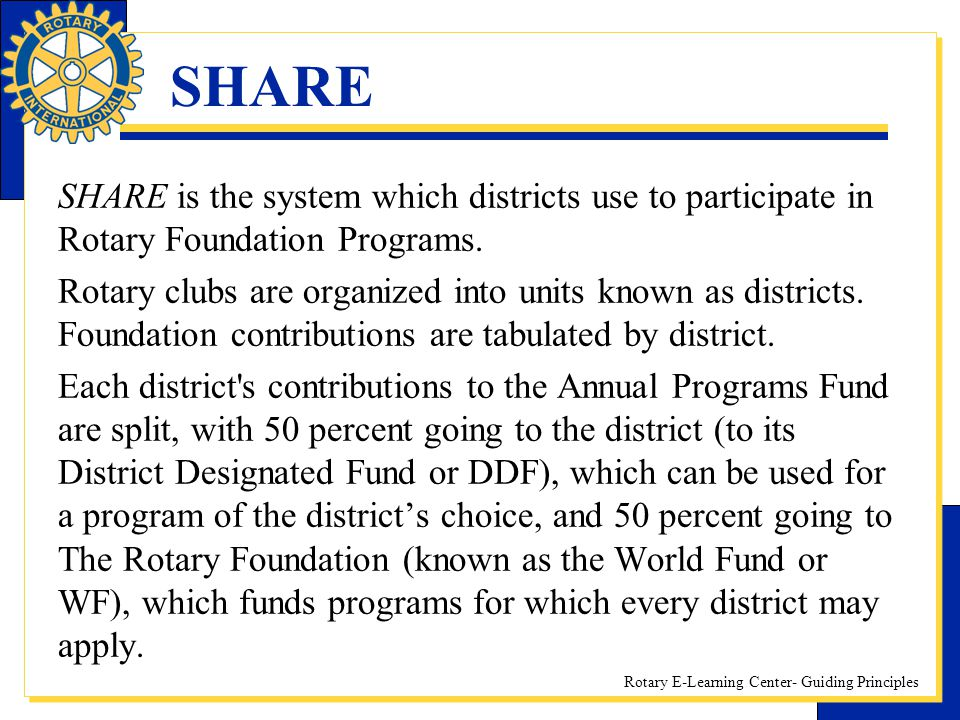 SHARE SHARE is the system which districts use to participate in Rotary Foundation Programs.
