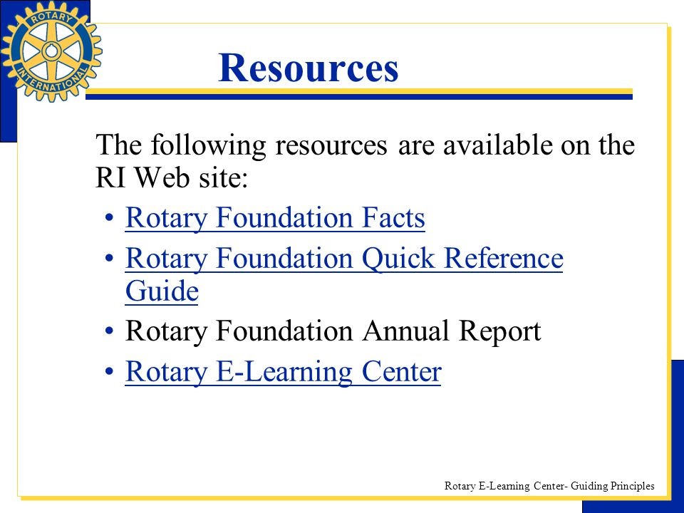 Resources The following resources are available on the RI Web site: