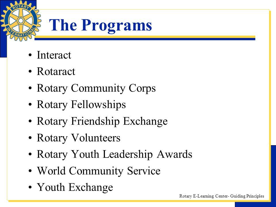 The Programs Interact Rotaract Rotary Community Corps