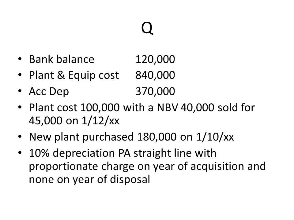 Q Bank balance 120,000 Plant & Equip cost 840,000 Acc Dep 370,000