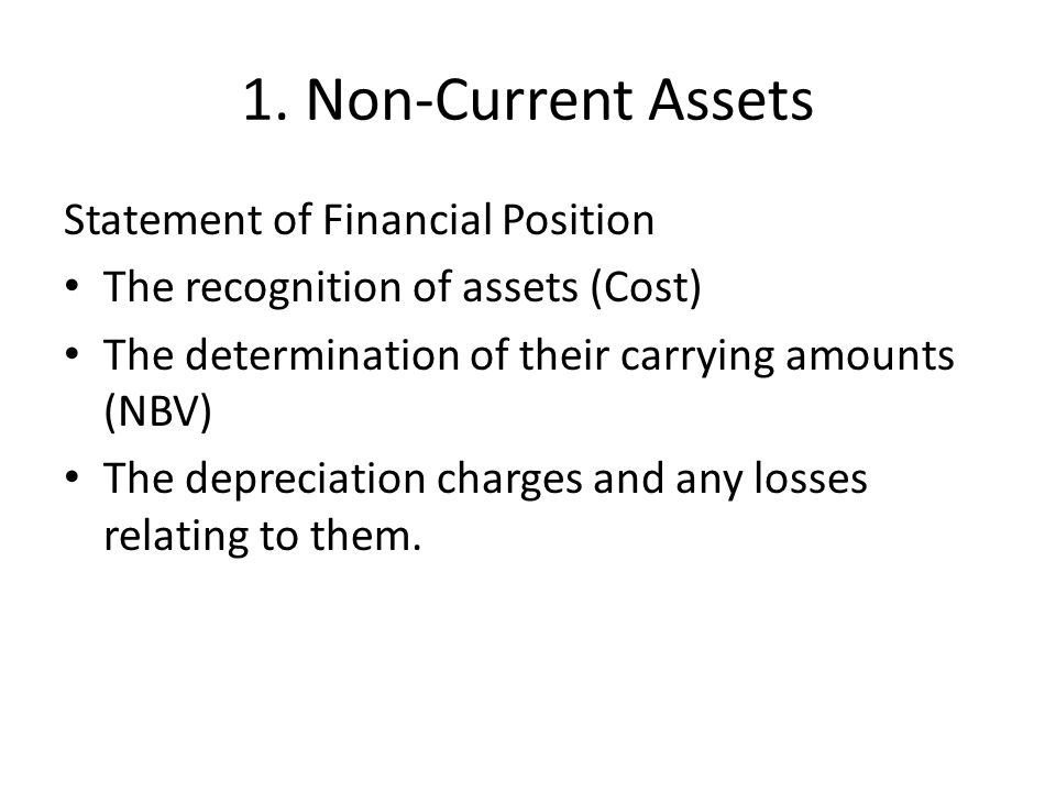 1. Non-Current Assets Statement of Financial Position