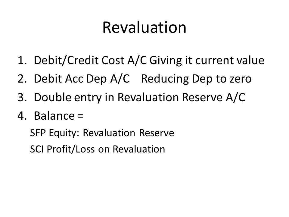 Revaluation Debit/Credit Cost A/C Giving it current value