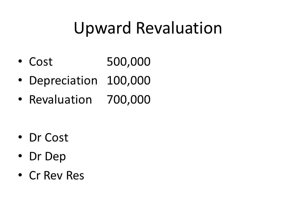 Upward Revaluation Cost 500,000 Depreciation 100,000