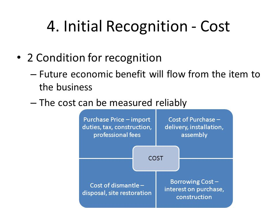 4. Initial Recognition - Cost