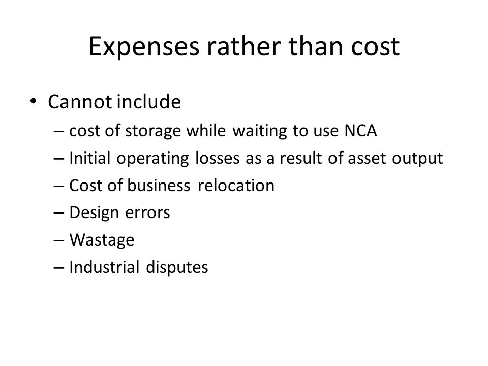 Expenses rather than cost