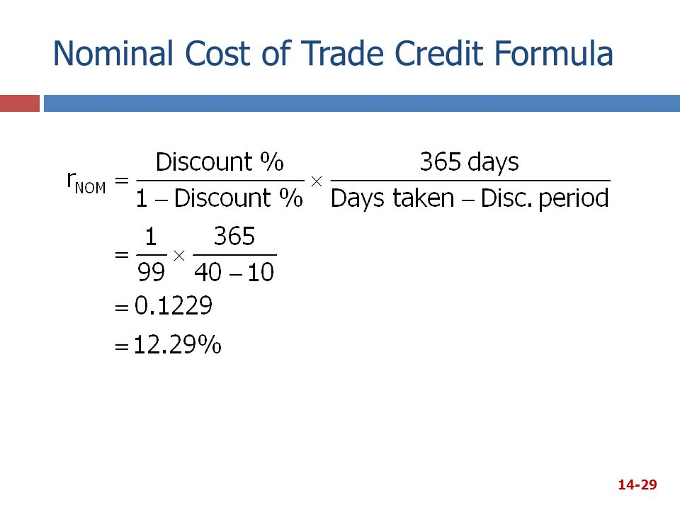 Nominal Cost of Trade Credit Formula