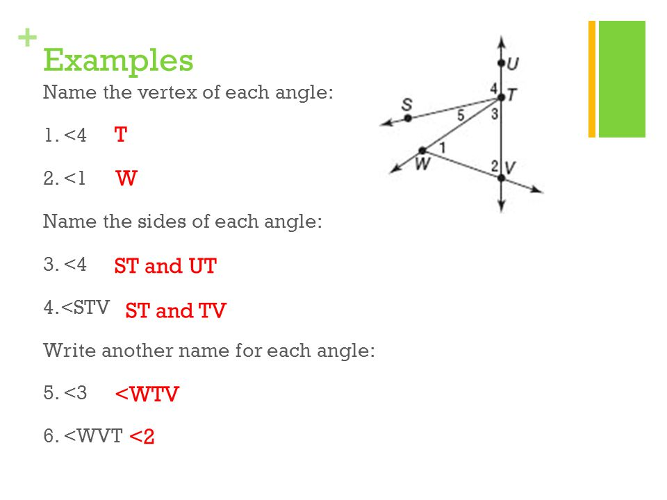 Examples T W ST and UT ST and TV <WTV <2
