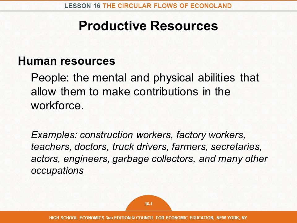 Productive Resources Human resources