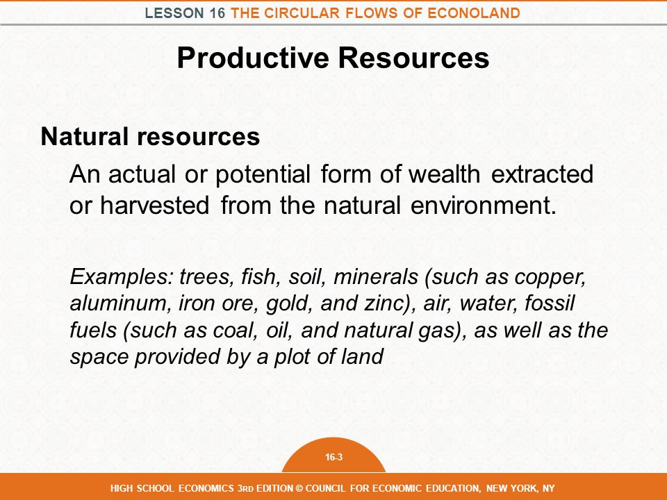 Productive Resources Natural resources