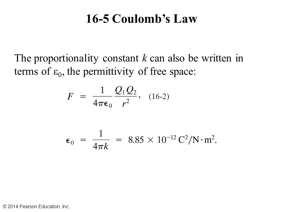 16-5 Coulomb's Law The proportionality constant k can also be written in terms of ε0, the permittivity of free space:
