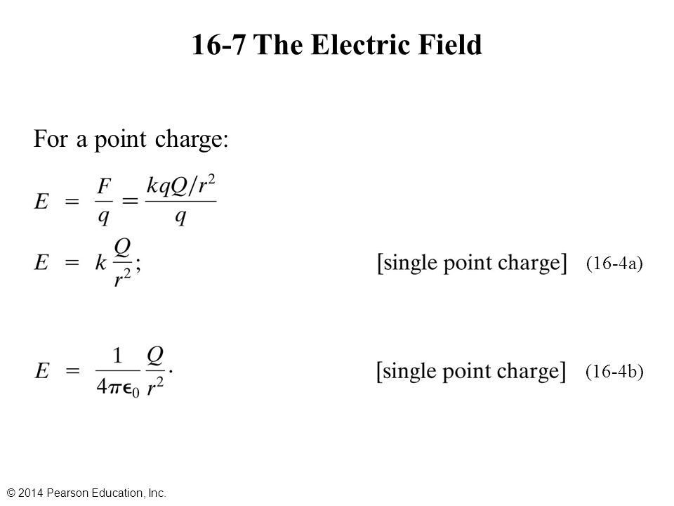 16-7 The Electric Field For a point charge: (16-4a) (16-4b)