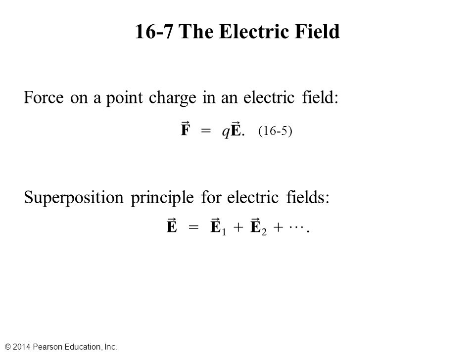 16-7 The Electric Field Force on a point charge in an electric field: Superposition principle for electric fields: