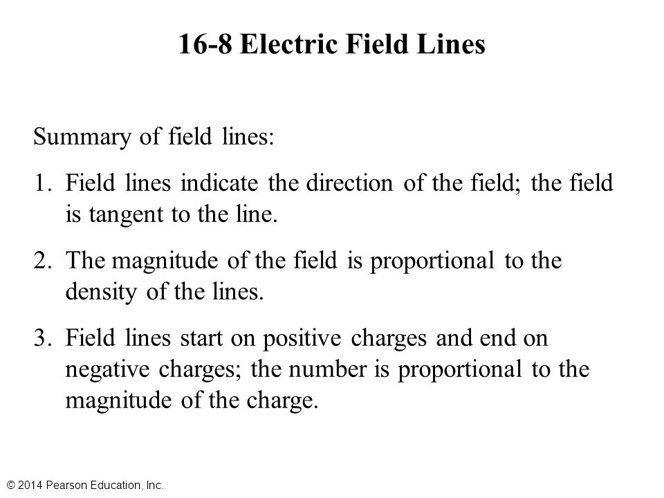 16-8 Electric Field Lines Summary of field lines: