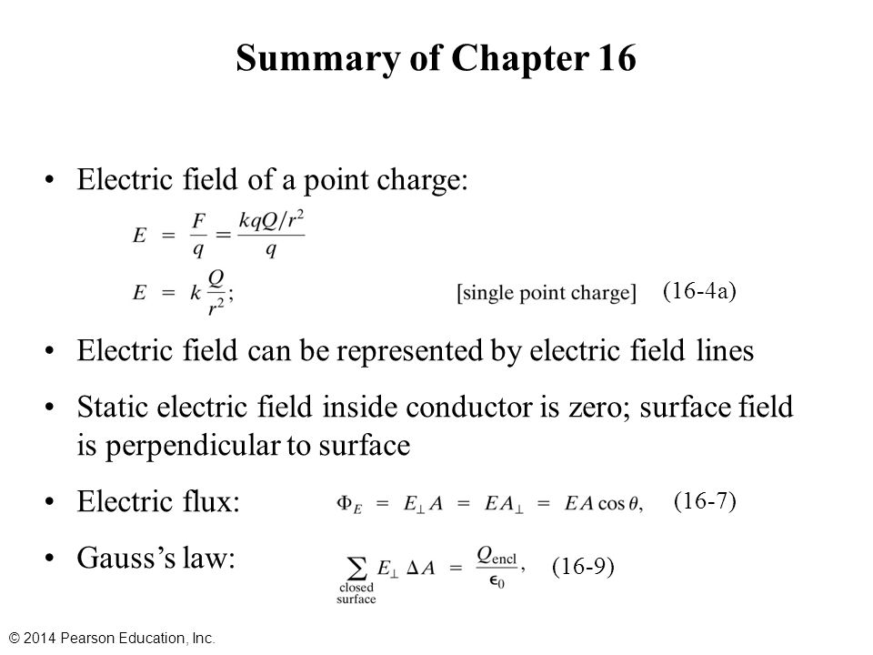 Summary of Chapter 16 Electric field of a point charge: