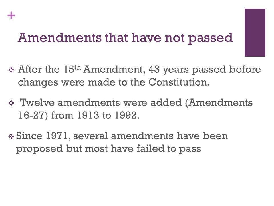 Amendments that have not passed