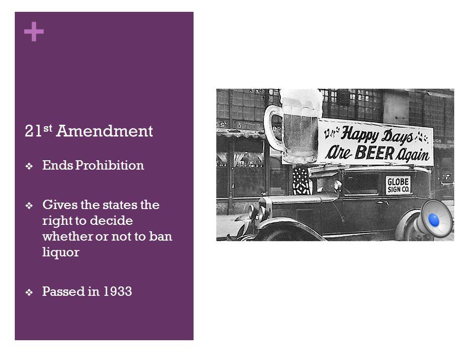 21st Amendment Ends Prohibition