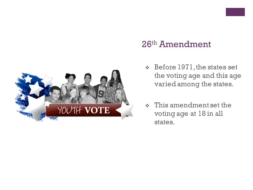 26th Amendment Before 1971, the states set the voting age and this age varied among the states.