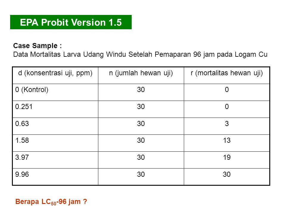 EPA Probit Version 1.5 Case Sample :
