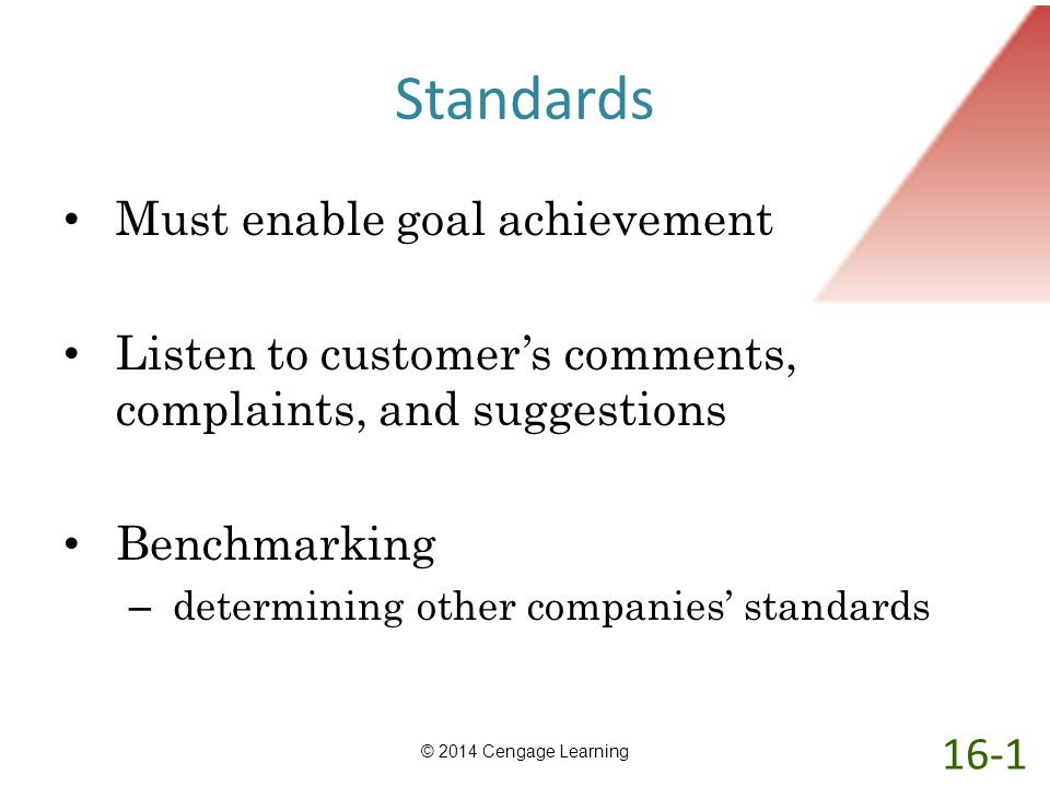 Standards Must enable goal achievement