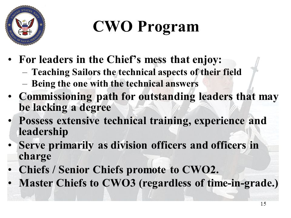 CWO Program For leaders in the Chief's mess that enjoy: