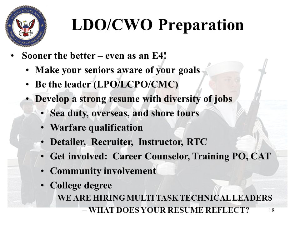 LDO/CWO Preparation Sooner the better – even as an E4!