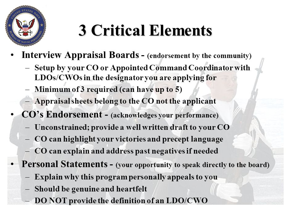3 Critical Elements Interview Appraisal Boards - (endorsement by the community)