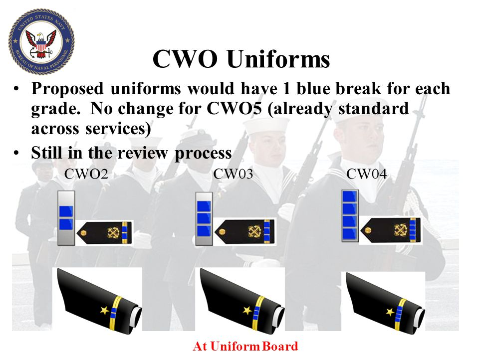 CWO Uniforms Proposed uniforms would have 1 blue break for each grade. No change for CWO5 (already standard across services)