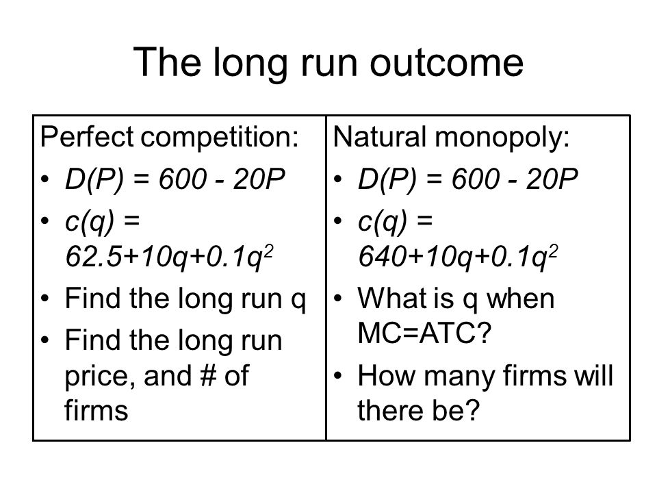 The long run outcome Perfect competition: D(P) = 600 - 20P