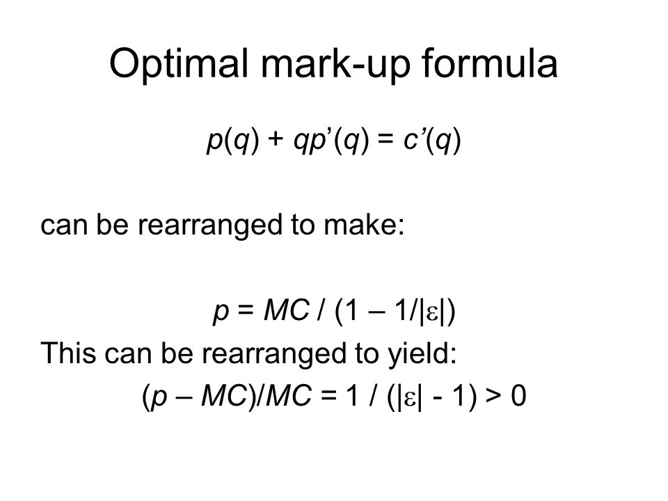 Optimal mark-up formula