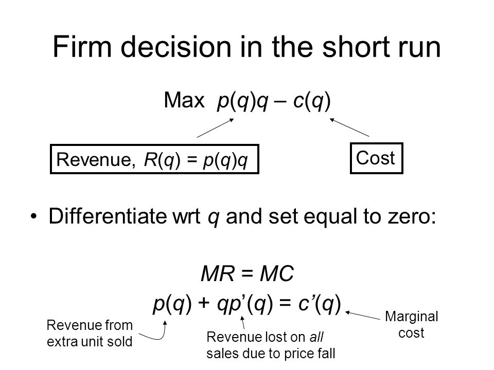 Firm decision in the short run