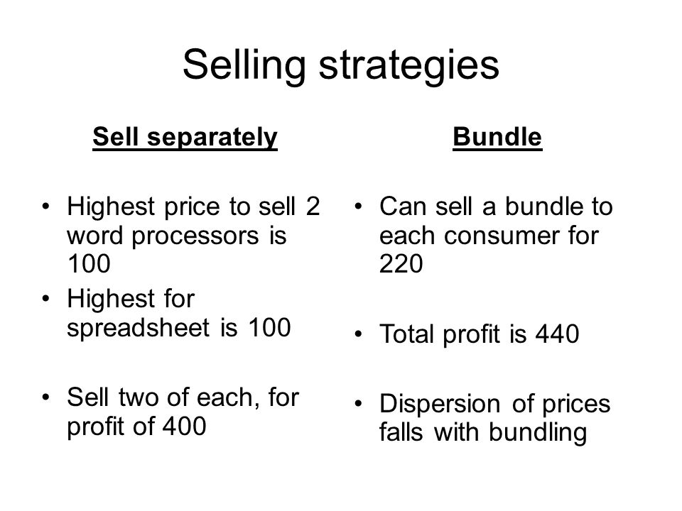 Selling strategies Sell separately