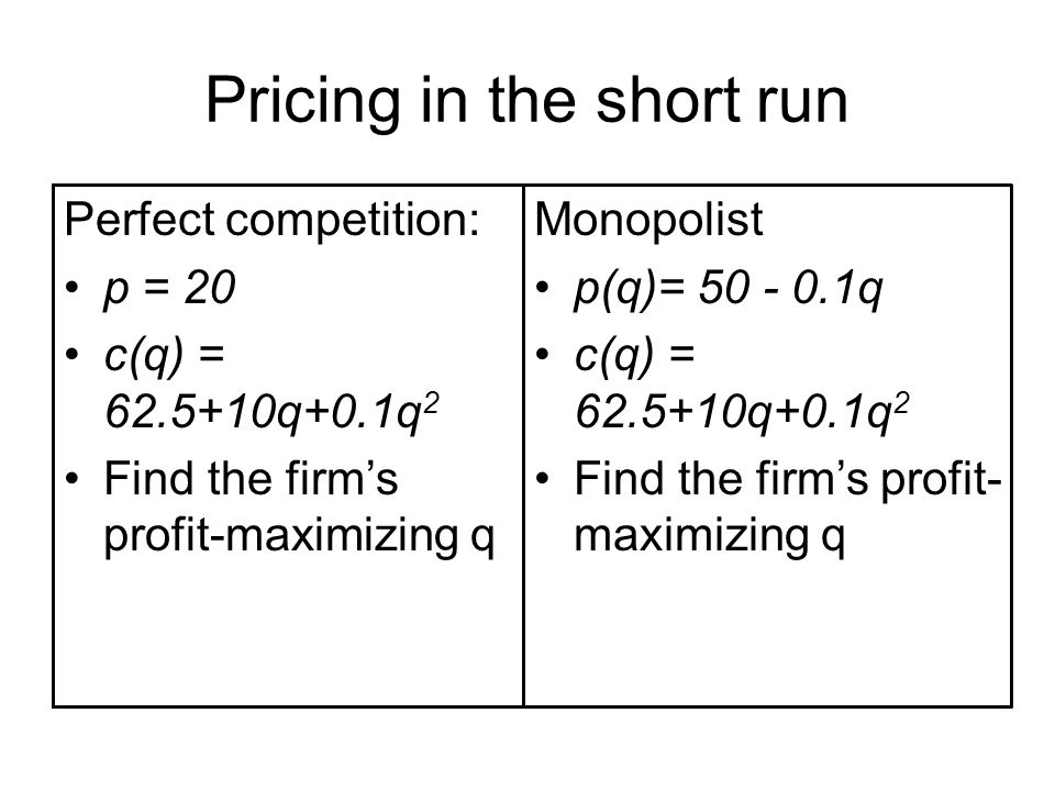 Pricing in the short run