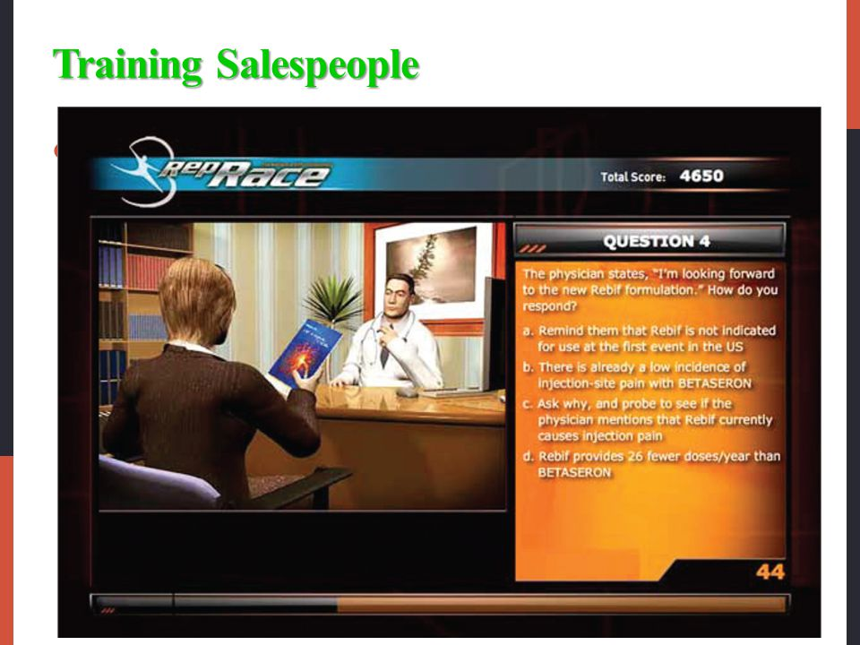 Training Salespeople Training programs have several goals.