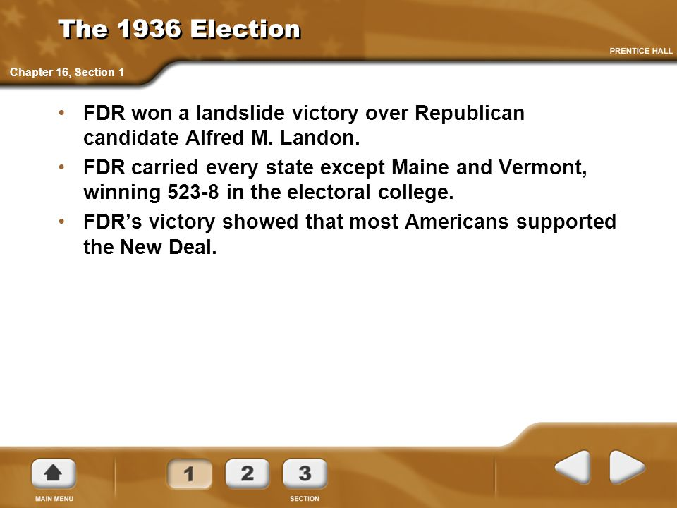 The 1936 Election Chapter 16, Section 1. FDR won a landslide victory over Republican candidate Alfred M. Landon.