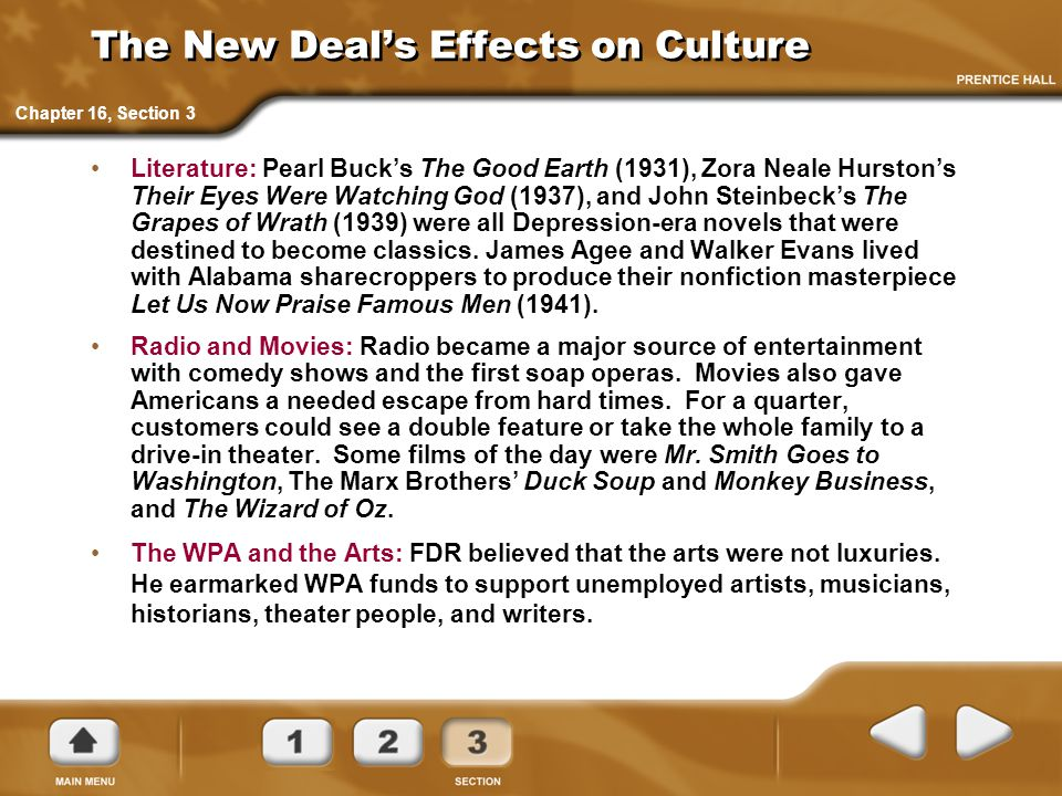 The New Deal's Effects on Culture