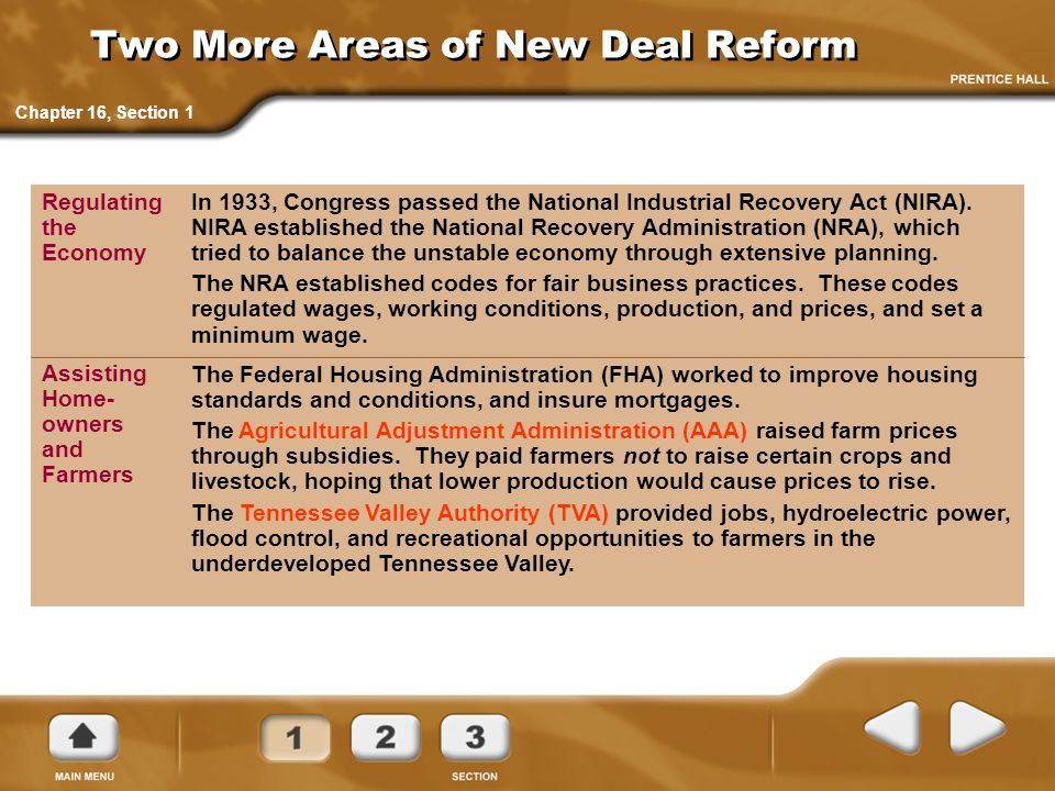 Two More Areas of New Deal Reform