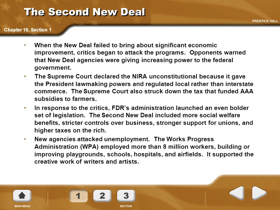 The Second New Deal Chapter 16, Section 1.