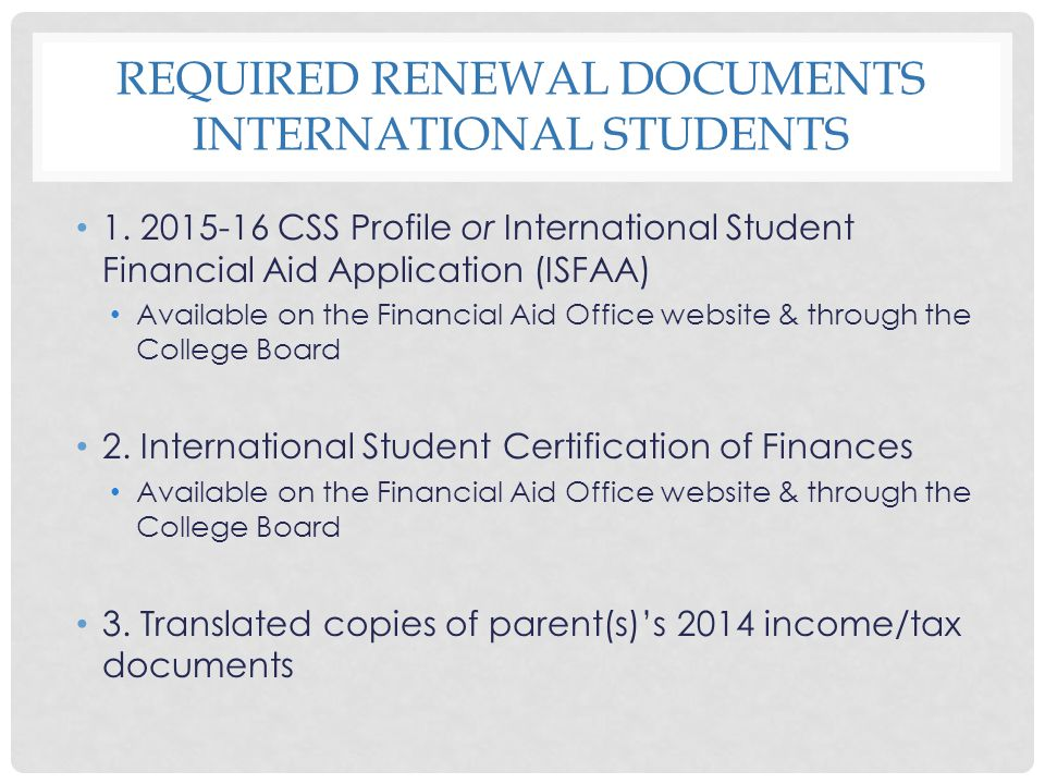Required Renewal Documents International Students
