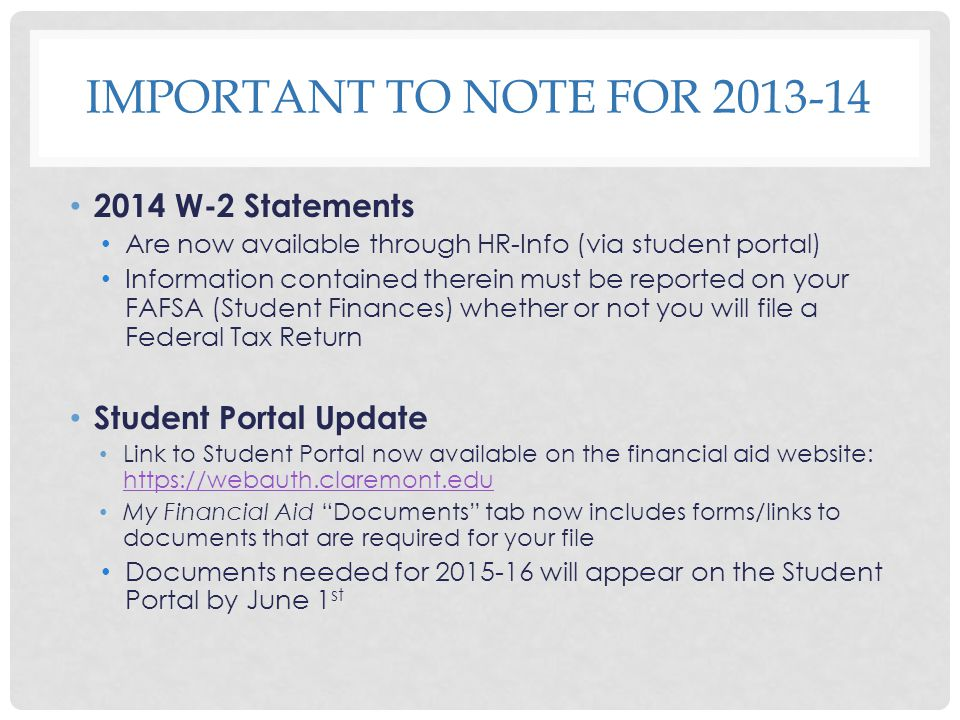 Important to note for 2013-14 2014 W-2 Statements