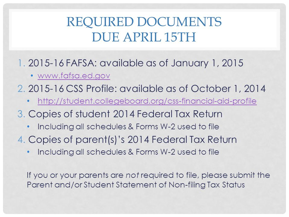 Required Documents Due April 15th