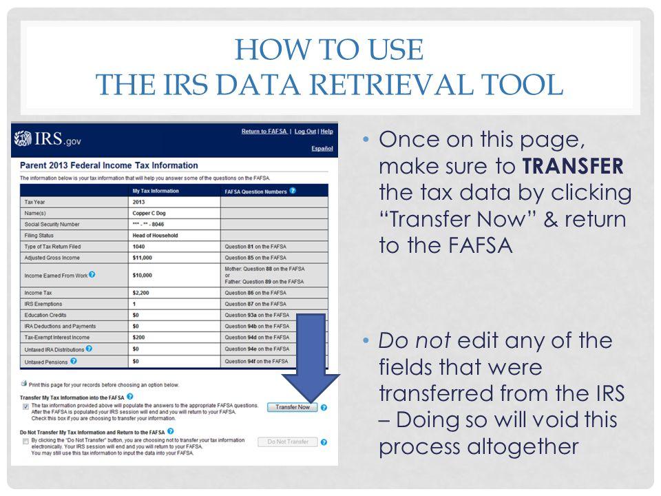 How to use the irs data retrieval tool