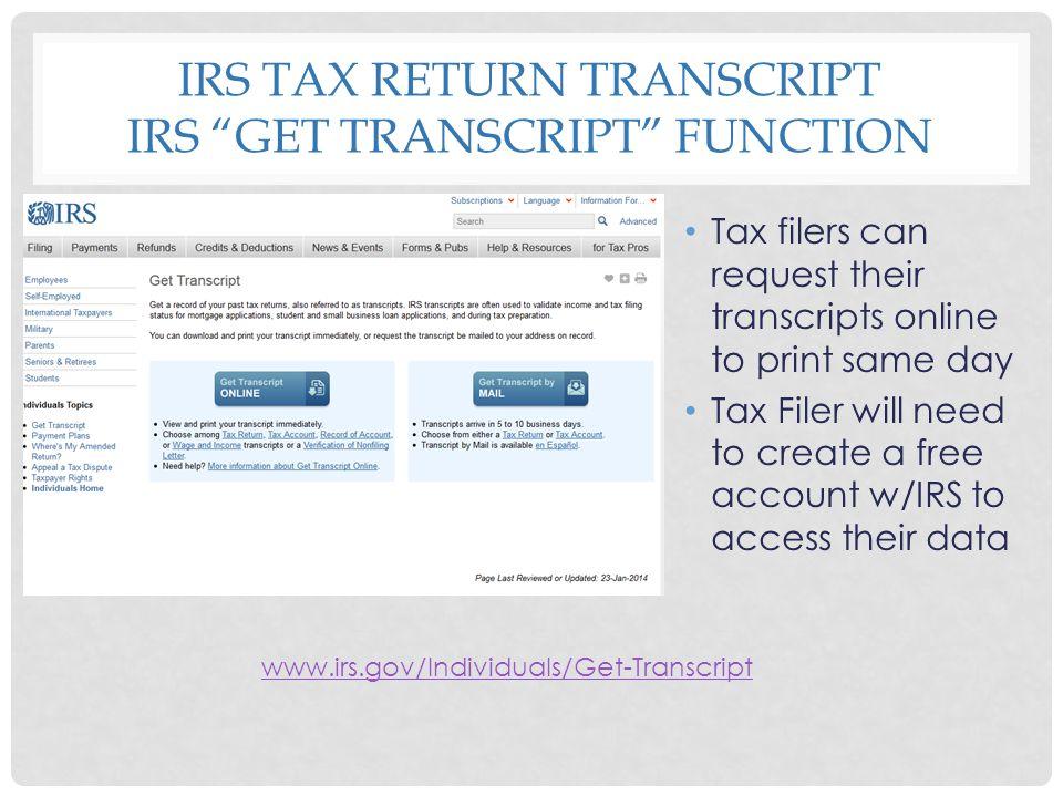 IRS Tax Return Transcript Irs Get Transcript function