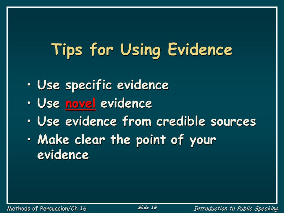 Tips for Using Evidence
