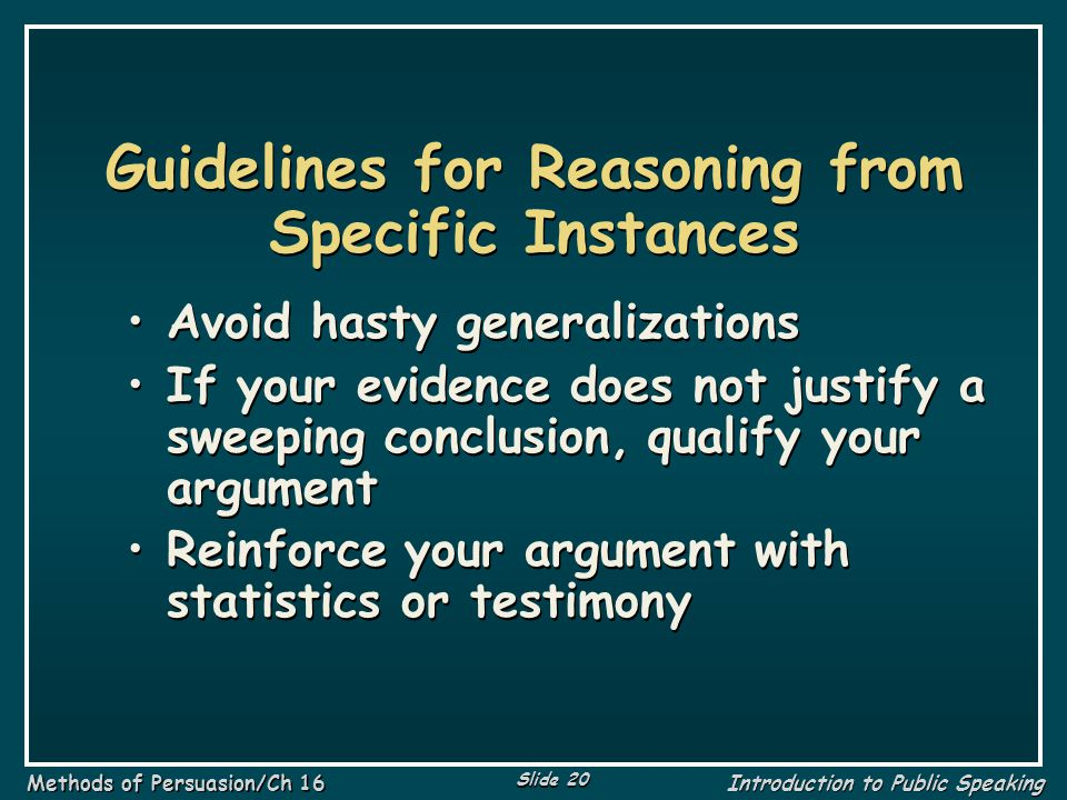 Guidelines for Reasoning from Specific Instances