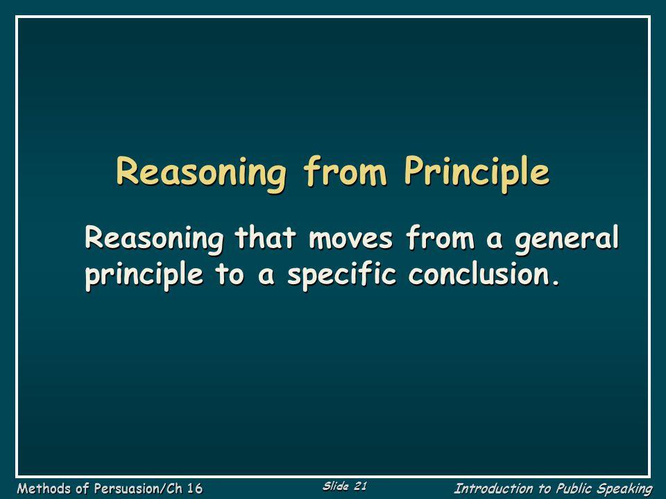 Reasoning from Principle