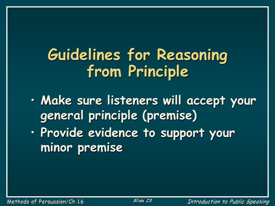 Guidelines for Reasoning from Principle