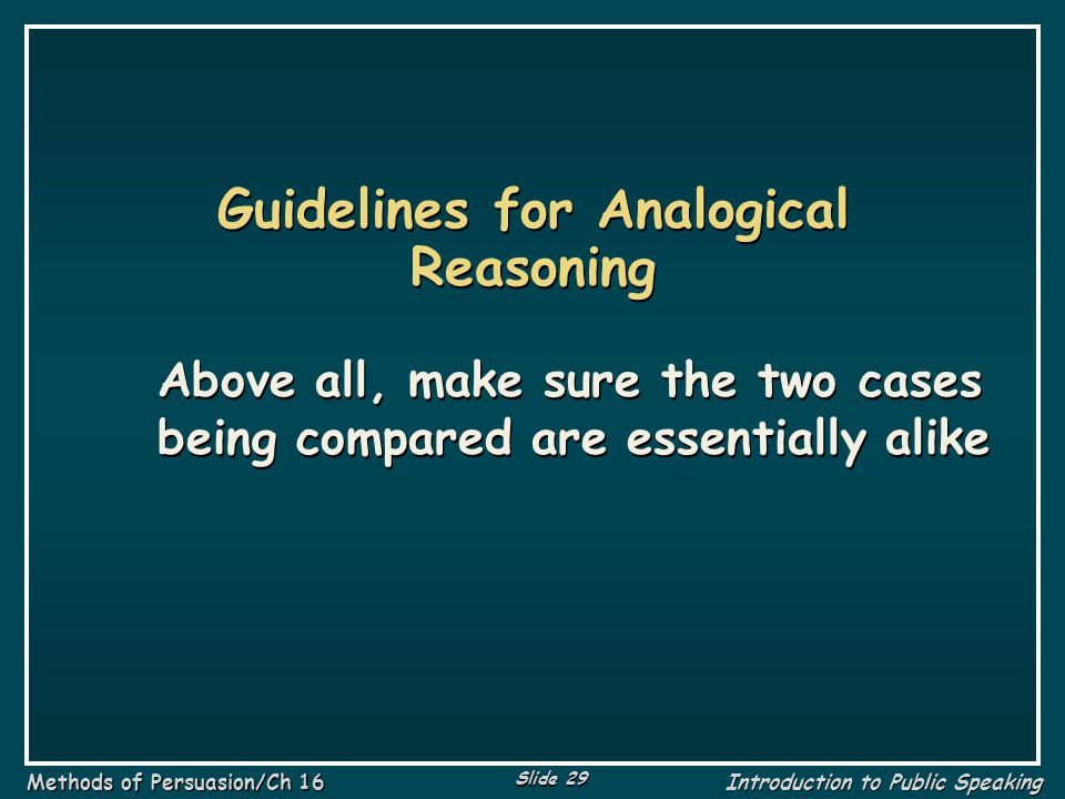 Guidelines for Analogical Reasoning