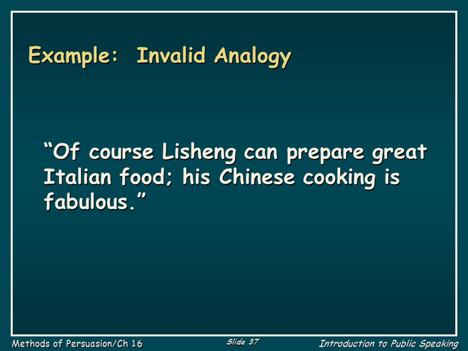 Example: Invalid Analogy