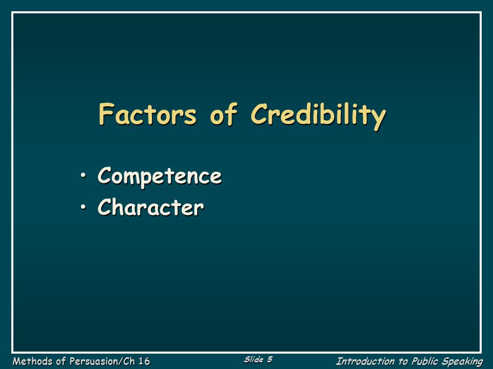 Factors of Credibility