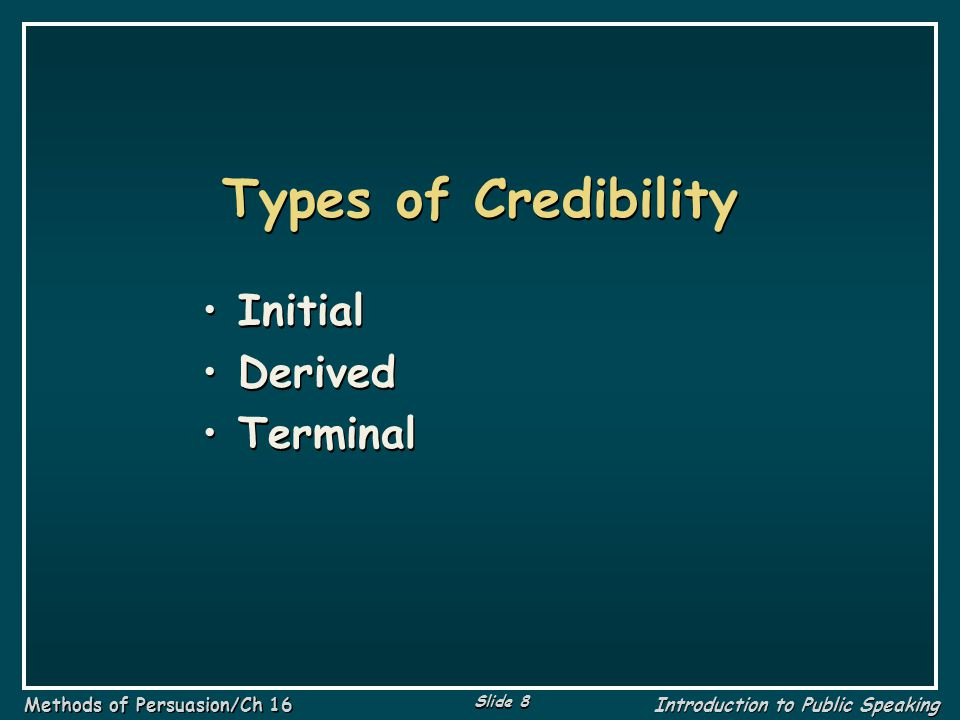 Types of Credibility Initial Derived Terminal